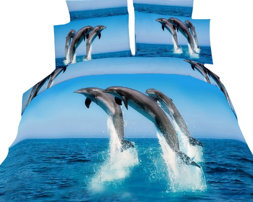 Dolce Mela Dm425T Atlantic Dolphins Twin Cotton Duvet Cover Set back-80404