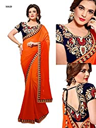 Gokul Vastra Faux Georgette Saree (TL-90029_1_Orange)
