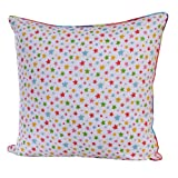 Homescapes - 100% Cotton - Stars - Filled Cushion - 45 x 45 cm Square - 18 x 18 Inches - Multi Colour Orange Red Blue Yellow - 100% Cotton - Cover Well Filled Pad - Washableby Homescapes