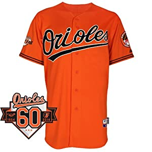 Baltimore Orioles Alternate Orange Authentic Cool Base Jersey w  Commemorative 60th... by Majestic