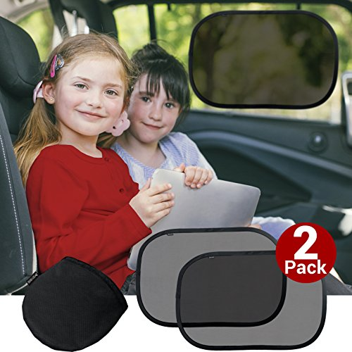Cozy Greens® Car Window Sun Shade | Premium Baby Cling Sunshade 2 Pack | Protection from Harmful UV Rays | FREE Car Games eBook, Carrying Bag | Sun Shield for Kids | Lifetime Satisfaction Guarantee