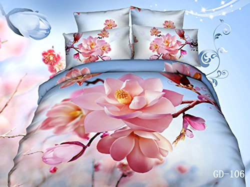 Queen King Size 100% Cotton 7-Pieces 3D Pink Flowers Blue Sky Floral Prints Fitted Sheet Set With Rubber Around Duvet Cover Set/Bed Linens/Bed Sheet Sets/Bedclothes/Bedding Sets/Bed Sets/Bed Covers/ Comforters Sets Bed In A Bag (King) front-689415