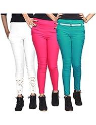 Xarans Stylish Looking Cotton Lycra Net, Button, Zip Jegging Set Of 3 Pcs