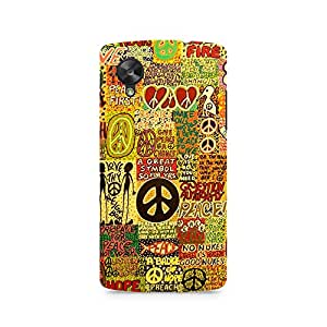 Motivatebox- Hippy Peace Premium Printed Case For LG Nexus 5 -Matte Polycarbonate 3D Hard case Mobile Cell Phone Protective BACK CASE COVER. Hard Shockproof Scratch-
