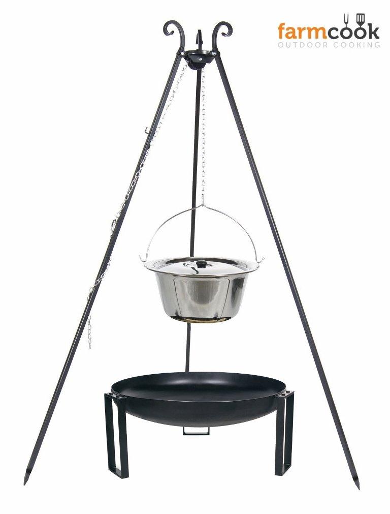 Dreibein Grill VIKING Höhe 180cm + Topf 10 Liter aus Edelstahl + Feuerschale Pan36 Durchmesser 60cm jetzt bestellen