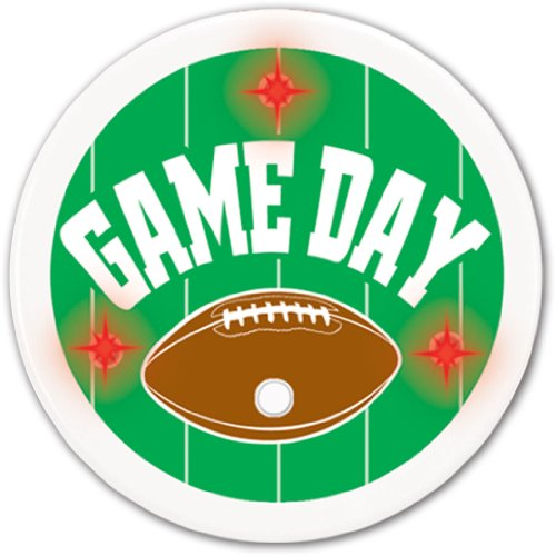 Flashing Game Day Football Button 2¼in. Pkg/12