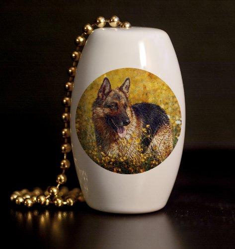 German Shepherd Porcelain Fan / Light Pull