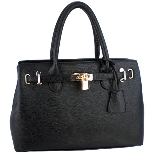 HESSA Black Dcor Lock Double Top Handle Zippered Office Tote Bag Satchel Purse Handbag