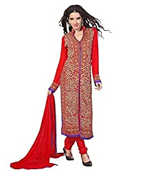Decent World Red Georgette Exclusive Dress Material