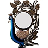 Divraya Wood Peacock Wall Mirror (30.48 Cm X 4 Cm X 45.72 Cm, DA121)