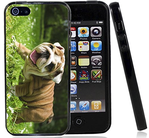 Happy English Bulldog Puppy Case / Cover For The Iphone 5G / 5S / Iphone SE (2016) By Atomic Market By Atomic Market (Bulldog Iphone 5s compare prices)