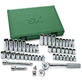 SK 94549 3/8-Inch Drive 6-Point Fractional/Metric Socket Set, 49-Piece