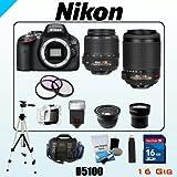 Nikon 16MP D5100 Bundle - Includes Nikon AF-S DX NIKKOR 18-55mm f/3.5-5.6G VR - Nikkor 55-200mm f/4-5.6G IF-ED - 16GB SDHC Memory Card - USB Memory Card Reader - 3 Piece Lens Filter Kit - Spare Lithium Battery - Digital Flash - Lens Cleaning Kit - Full Size Tripod - Carrying Case