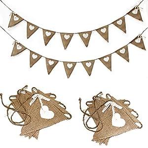 ALLHEARTDESIRES® Hessian Burlap Heart Prints Bunting Banner Rustic Wedding Decoration Bridal Shower Favor from ALLHEARTDESIRES