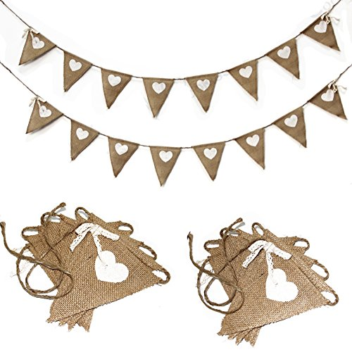ALLHEARTDESIRES® Hessian Burlap Heart Prints Bunting Banner Rustic Wedding Decoration Bridal Shower Favor