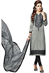 ZHot Fashion Women's Embroidered Un-stitched Dress Material In Cotton Fabric (ZHDM1014) Grey