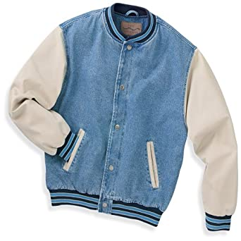 Port Authority Denim and Twill Letterman Jacket, Light Blue/Khaki, XS