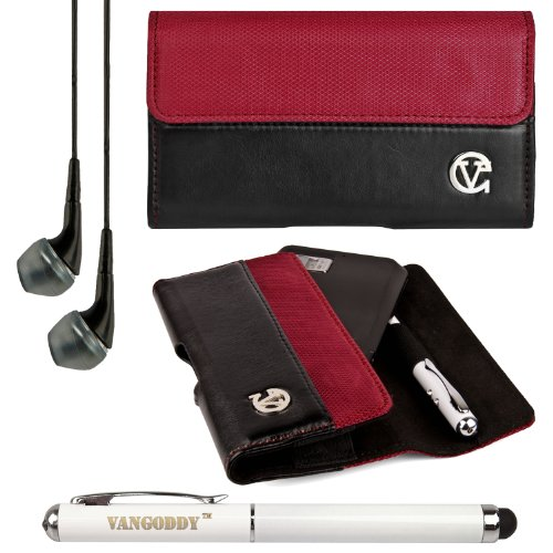 Vg Portola Series 2 Tone Faux Leather & Nylon Holster Case With Stylus Pen Holder For Verizon Wireless Casio G'Zone Commando 4G Lte Smart Phone + Vg Executive Stylus Pen With Integrated Laser Pointer And Led Reading Light + Black Vg Stereo Headphones W/ M