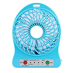 Powerful Portable Wireless Rechargeable Mini USB Fan Micro USB Charging Port (Like Mobile) 2200 mAh Lithium-ion Battery Inside 3 Speed Compact Cool Premium Quality Durable Best for Desktop Use Lamp Gadget Blue