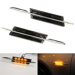 See iJDMTOY BMW M-Sport Style Black Smoked Side Marker Lamps with Amber LED Lights Fit BMW E90 E92 E60 E81 E87 F30 1 3 5 Series X1, etc Details