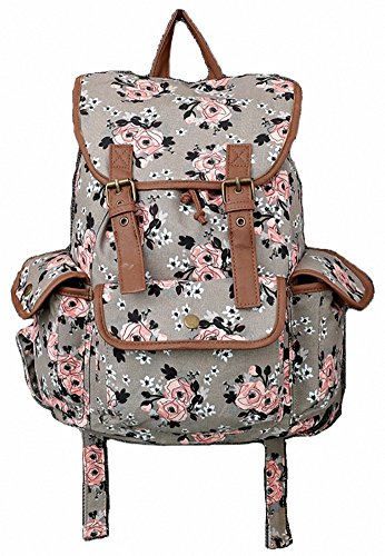 Kenox Canvas School College Backpack/bookbags for Girls/students/women (Floral-3)