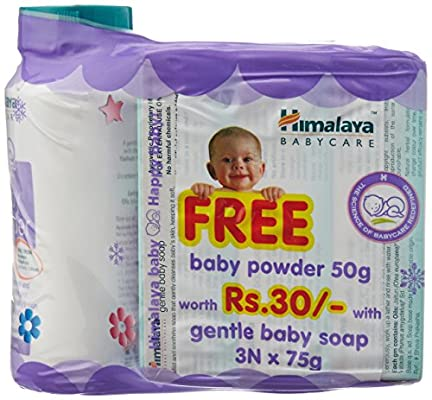 Himalaya Gentle Baby Soap, 3x75g + Baby Powder, 50g Free at Rs.89 [Next Best at Rs.108] low price