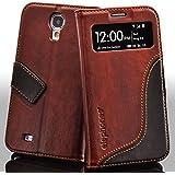 elephones S-View Handy Tasche Schutz Hülle im Bookstyle für Samsung Galaxy S4 Wallet Case mit Kartenfach Standfunktion