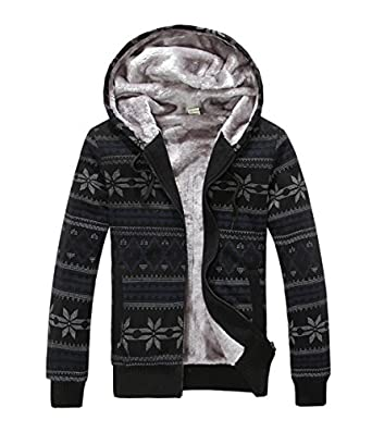 Xcoser Couples Christmas Sweaters Zipper Winter Warm Cotton Padded Jacket Hoodie