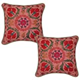 Home Decor Designer Embroidery Cotton Pillow Cushion Cover 17 Inches 2 Pcs