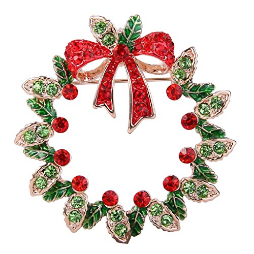 EVER FAITH Women s Crystal Holiday Gifts Christmas Wreath Bowknot Brooch Pin Red…