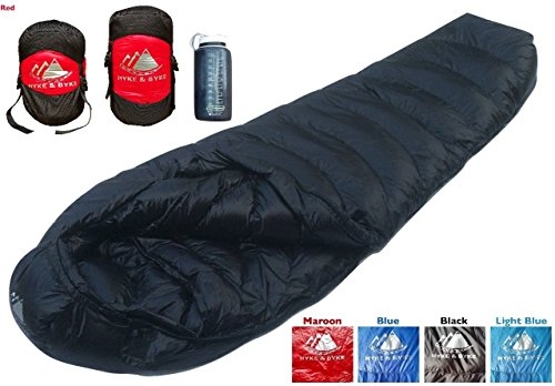 Ultralight Mummy Down Sleeping Bag - 15 Degree 4 Season, Lightweight Design for Backpacking, Thru Hiking, and Camping - Under 2 lbs 14 oz w/ Compression Sack (Red, Long) (Lightweight Sleeping Quilts compare prices)