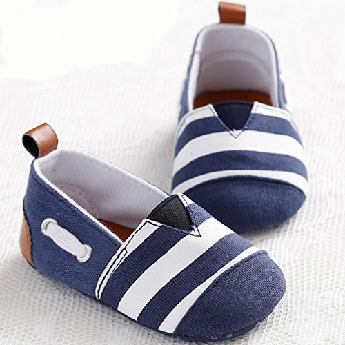2. LIVEBOX Newborn Baby Cotton Stripes Soft Sole Infant Prewalker Toddler Shoes