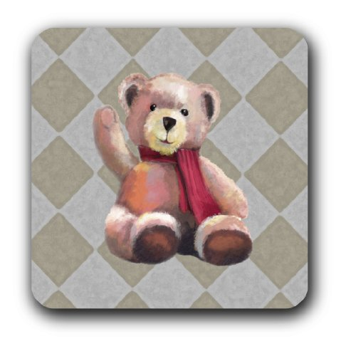 Alumapic, Cute Teddy Bear Wall Decoration, Original Artwork, Aluminum, 12 By 12 Inches, Light Weight, Ready to Hang,