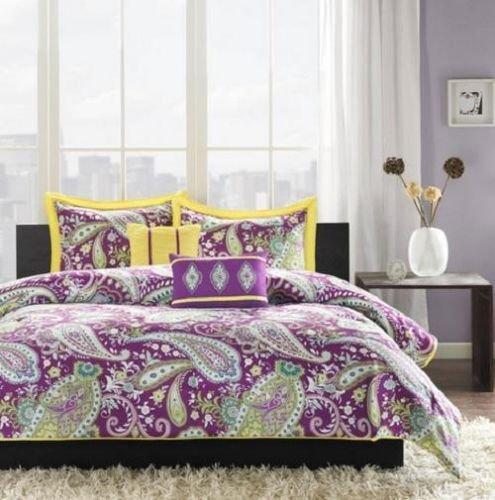 Full Queen Girls Teen Purple Yellow Modern Chic Paisley Comforter Bedding Set front-945485