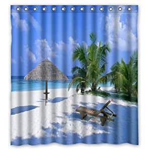 Beach scene curtains