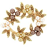 Brooches Store Autumn Gold, Topaz Crystal & Pearl Wreath Brooch