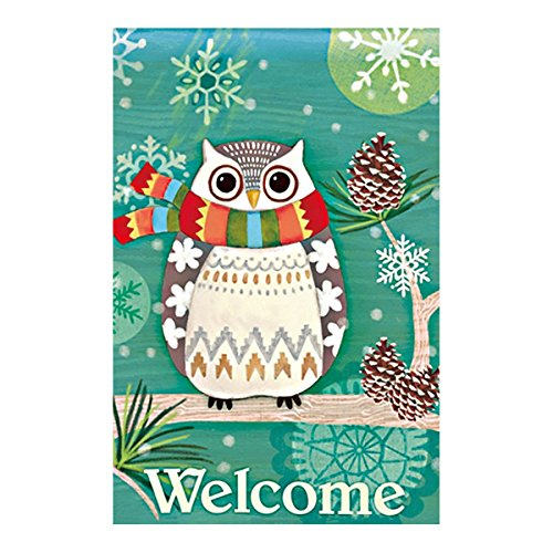 Double Sided Decorative Custom Flag Welcome Winter Day-Cute Owl In Scarf Fade And Mildew Resistant Waterproof Garden Flags 28 X 40 Inch 100% Polyester Banner (Moose Flag Bracket compare prices)