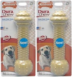 Nylabone DuraChew Barbell Peanut Butter Flavor Monster 2pk