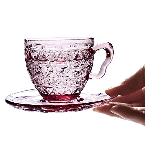 Riimax 6.7oz/200ml Old Fashioned Embossed Clear Glass Tea & Coffee Cups with Saucers Set of 6 (Red) (Microwavable Espresso Maker compare prices)