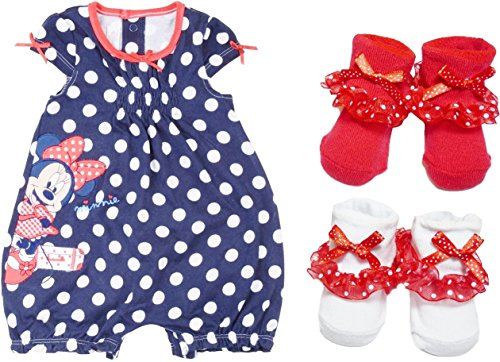 Disney Minnie Mouse Romper & Socks Polka Dot Navy - White - -Red Infant (3-6 Months) front-87536