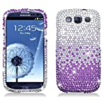 Waterfall Rhinestone Crystal Bling Diamond Hard Case for AT&T,Verizon,Sprint and T-mobile Samsung Galaxy S3 – Purple