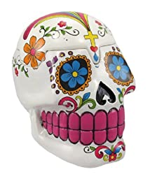 White Sugar Skull Mexican Day of the Dead Trinket Box