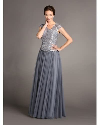 Terani Couture Women's Cap Sleeve Crackle Ice Gown