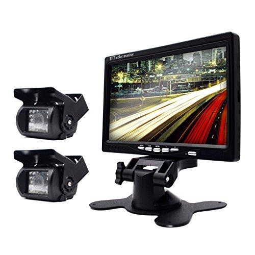 eRapta Wired 7 Inch Waterproof Backup Camera And Monitor Kits For Semi-Trailer/Box Truck/RV/Motorcoach/5th Wheel/Trailer/Bus PAL And NTSC High Solution Rearview Camera
