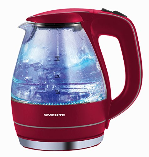 Ovente Kg83R Red 1.5L Glass Electric Kettle