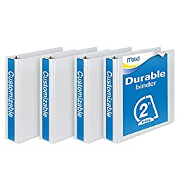 Mead 2-Inch D-Ring View Binder, Pack of 4, White (W465-44WPP)