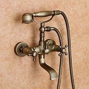 Antiquaires robinet de baignoire avec douche à main inspirés (finition laiton antique)