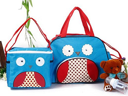 2 Pcs For Set High Quality Animal Cartoon Tote Baby Shoulder Diaper Bags Durable Nappy Bag Mummy Mother Baby Bag (Owl)