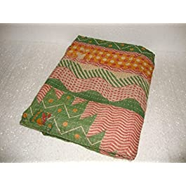 Hecho a mano Vintage Kantha manta de funda de edredón de flores de Colcha Reversible algodón Indian Ethnic Sari tela bordado manta Gudari ropa de cama