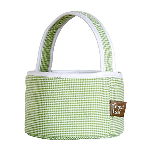 Trend Lab Sage Gingham Seersucker Collapsible Round Caddy
